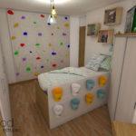 Antes y después de una habitación infantil con paredes irregulares